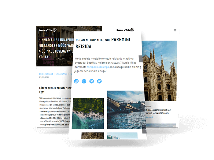 Dreamntrip | Dream n´ Trip | dreamntrip.ee | L-pakett | Veebileht